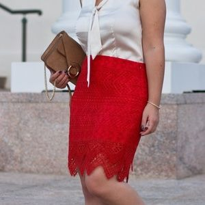 Banana Republic Red Lace Pencil Skirt